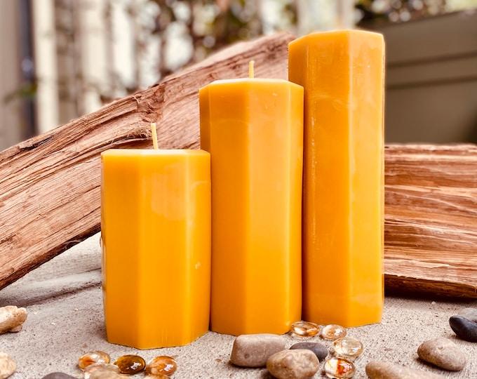 "Set of 3 organic hexagon beeswax candles 3"" wide-100% Pure Beeswax Pillar candle-natural beeswax-black-white beeswax pillar"