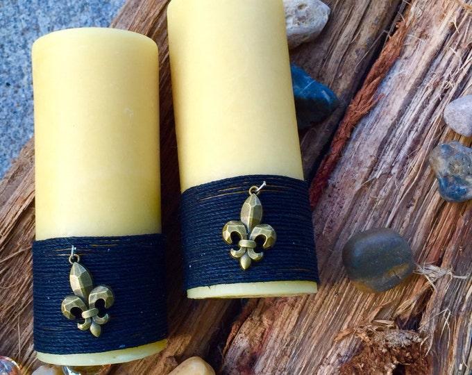 Beeswax Pillar Candle wrapped in natural hemp w/Fleur de lis charm