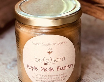 100% Pure Beeswax jar candle-Sweet Southern Scents-organic pure beeswax 10oz jar candle-scented beeswax candle