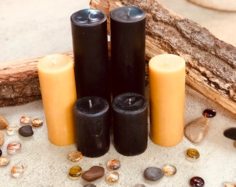 """100% Pure Beeswax Pillar Candle-2""""wide-up to 15"""" tall-pure beeswax pillar candles-yellow, black or white beeswax-handmade beeswax pillar"""