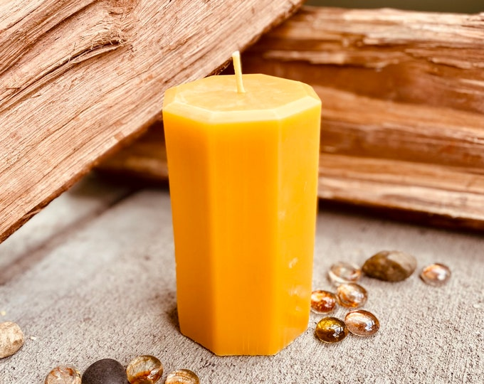 """100% Pure Beeswax Hexagon Pillar Candle-3"""" wide and up to 9"""" tall-beeswax candles-hexagon shaped beeswax pillar candle"""