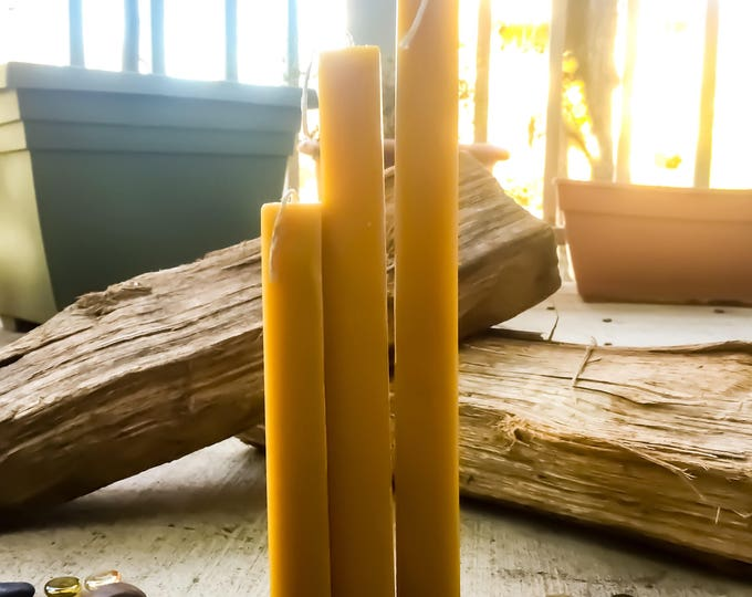 "Organic beeswax square pillar candles-set of 3 unique square 1"" wide pillars-square pure beeswax pillar candles-set of 3 pillar candles"
