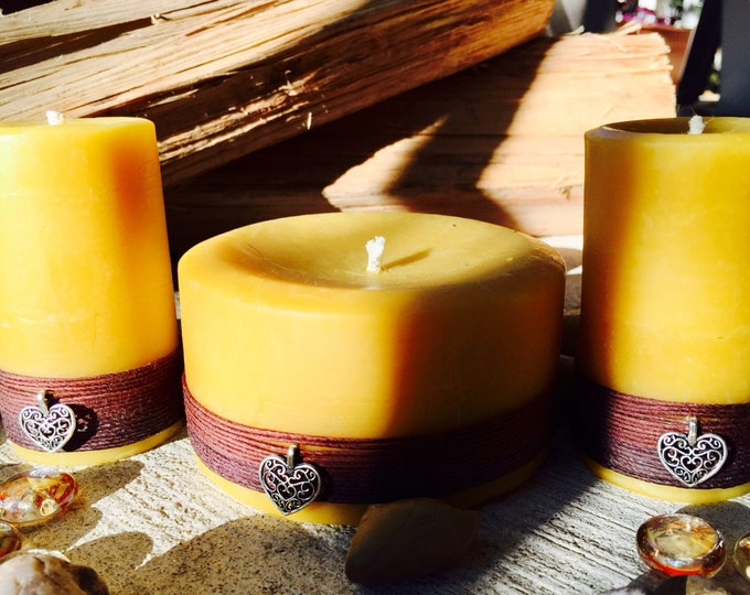 Free shipping-100% Pure Beeswax Candles-Beeswax Pillar Candle-wrapped in natural hemp & charmed beeswax candles-organic Beeswax gift set