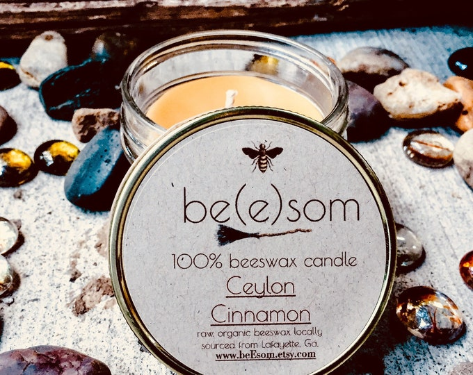 100% Pure Unscented Beeswax 3oz jar candle. Ceylon Cinnamon Scent.