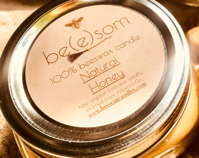100% Pure Beeswax 8oz Jar Candle in Flat Mason Jar. Scented or unscented Natural Honey Free Shipping