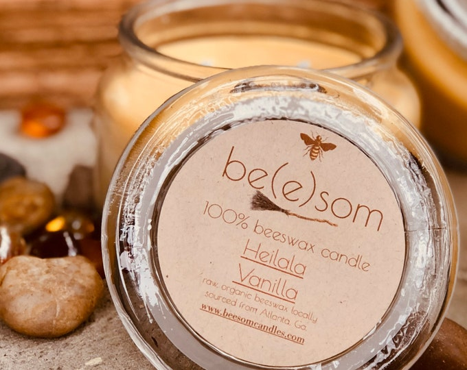 100% Pure Beeswax Candle-10ozs of pure beeswax in a glass topped apothecary jar scented or unscented-mason jar decor-farmhouse decor