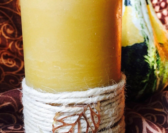 Beeswax Pillar Candle wrapped in Twine w/Copper Leaf charm