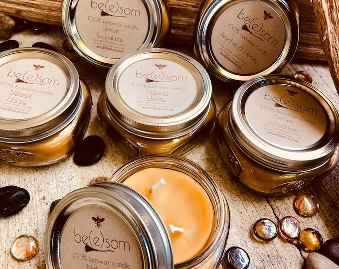 Free shipping-set of 6 100% Pure Beeswax Candle-6/8oz jars of pure beeswax in a flat Mason Jar-organic beeswax scented or unscented