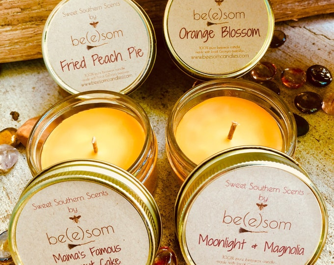 Free shipping-100% Pure Beeswax jar candle-Set of 4 or 6 Sweet Southern Scents-organic beeswax candles-organic pure beeswax 4oz jar candle