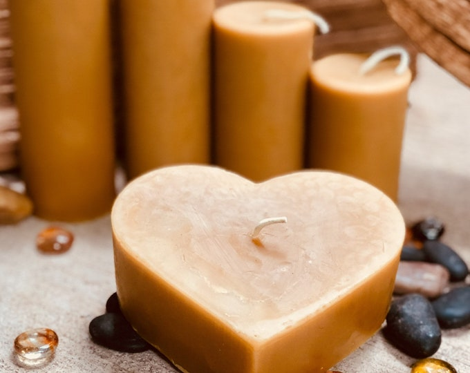 "100% pure beeswax heart shaped candle-large 4"" heart candle-unique heart beeswax candles-organic beeswax"