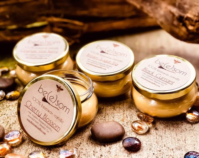 Set of 4 100% pure beeswax candles-4oz or 8oz glass terrine scented beeswax candles-gift set of 4 handmade scented beeswax candles