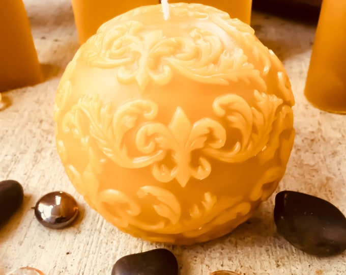 "100% pure beeswax round fleur de lis ball candle-fleur de lis 4"" ball candle-4"" sphere candle decorated with fleur de lis-organic beeswax"