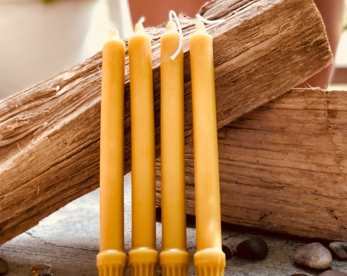 "Pair of 100% Pure Beeswax 10""  Taper Candles"