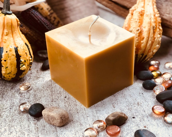 "Very Unique 4""x4"" 100% Pure Beeswax cube. Pure beeswax in a sleak square give the perfect union of rustic and modern decor. Perfect gift."
