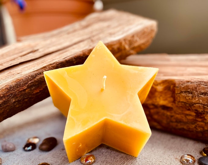 """100% pure beeswax Star shaped candle-beeswax star candle-5""""x3"""" star shaped beeswax candle-handmade"""