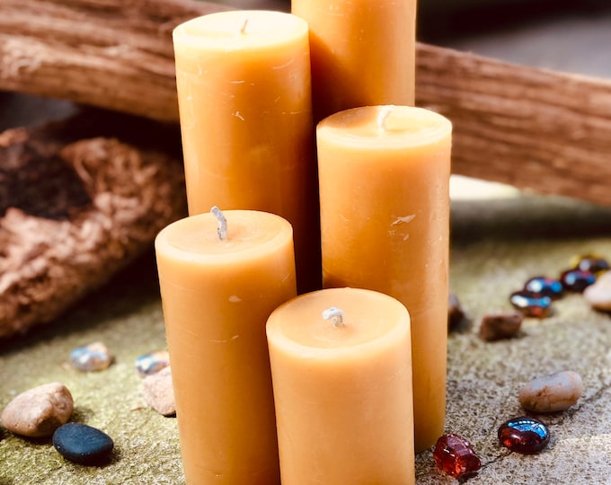 Set of 5 100% Pure Beeswax Pillar candles-Free Shipping