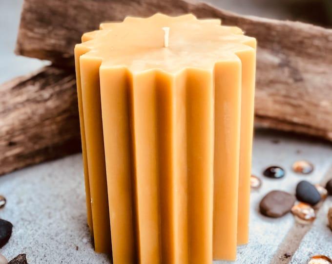 "100% Pure Beeswax Pillar Candle-5"" wide Beeswax Pillar Candle-Pure Organic Beeswax Candle-16 point star shaped pure beeswax pillar candle"