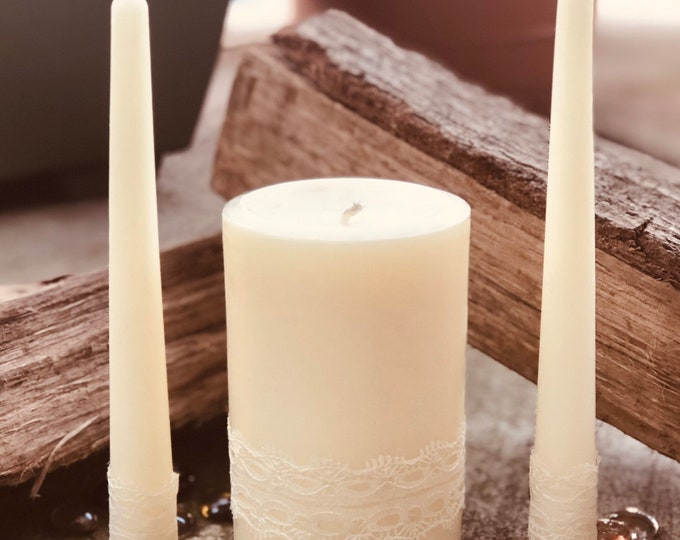 Free shipping-Unity Candle Set-Wedding Candles Set-100% Pure White Beeswax unity candle set-beeswax unity candles-organic white beeswax