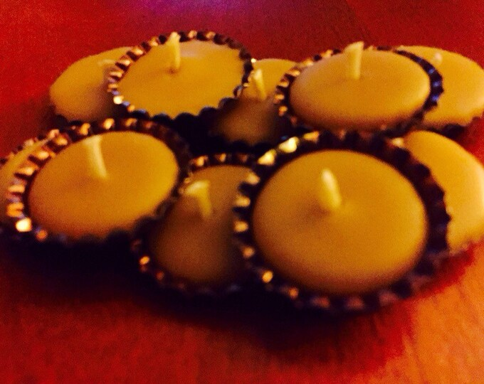 Beeswax candle-Altar Candles-10 100% beeswax bottle cap candles-beEsom candles-natural candle-beeswax