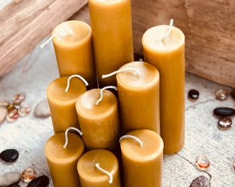 """100% Pure Beeswax Pillar candles. 2"""" in diameter and up to 8"""" tall Natural Honey, Heilala Vanilla, Ceylon Cinnamon or lemon scented"""
