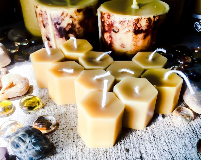 100% Pure Beeswax Tea Light Candles-hexagon beeswax tea lights-set of 7 beeswax tea light candles