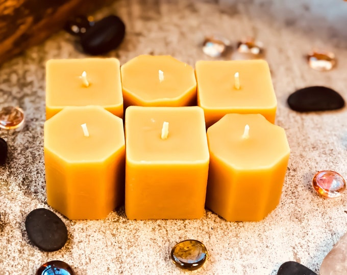 Set of 6 100% Pure Beeswax votive candles-unique hexagon votive candles-square votive candle-gift set of 6 beeswax votive-beeswax votives