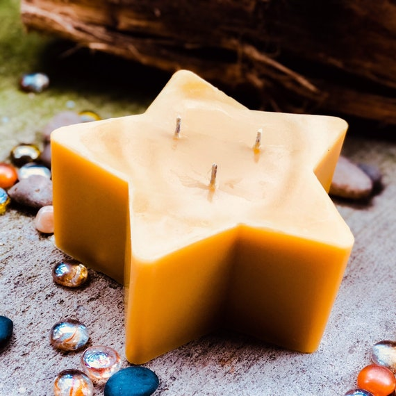 "100% pure beeswax Star shaped candle-3 wick large beeswax star candle-6""x3"" extra large 3 wick star beeswax candle-handmade-free shipping"