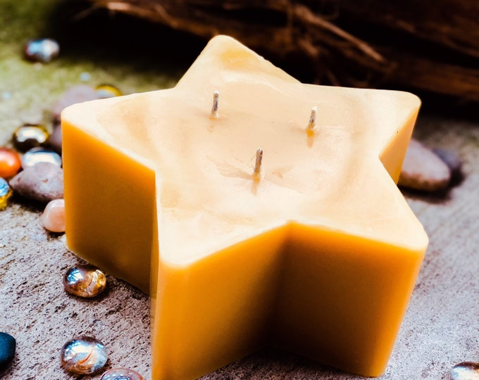 """100% pure beeswax Star shaped candle-3 wick large beeswax star candle-6""""x3"""" extra large 3 wick star beeswax candle-handmade-free shipping"""