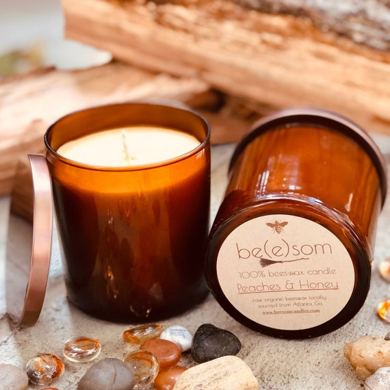 Pure organic beeswax candle in an amber glass jar topped with bronze colored lid-100% Pure Beeswax aromatherapy candles-beeswax candles
