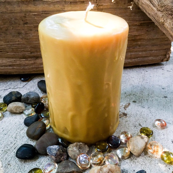 Pure Beeswax Candles-Handmade Drip Candle-organic Beeswax candle-Beeswax pillar candle-Beeswax candle-3 inch wide pillar drip candle