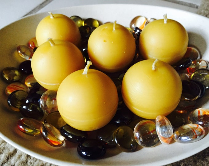"""Set of 6 100% Pure Beeswax 1.5"""" Sphere candles"""
