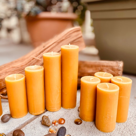 """Set of 4, 100% Pure Beeswax Pillar Candles from 2"""" to 9"""" tall-Free Shipping"""