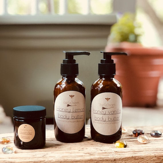 All Natural Whipped Body Butter in a Variety of Scents made with organic beeswax and shea butter.