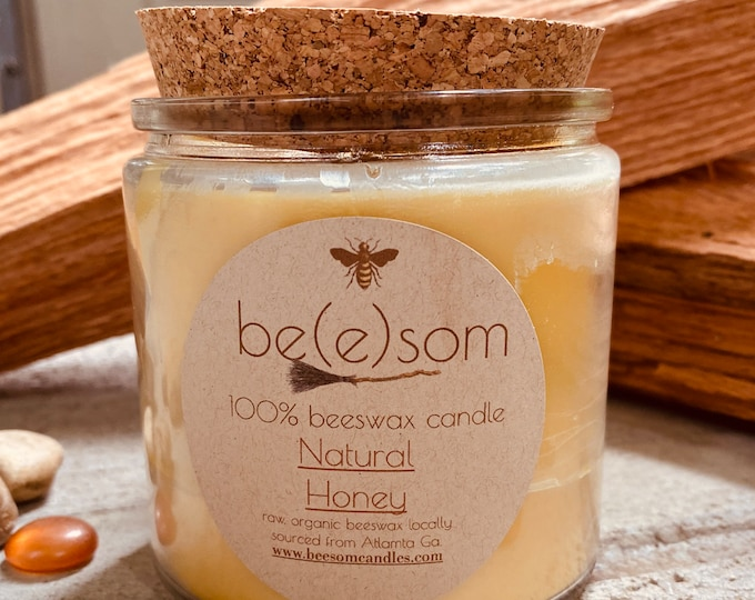 Pure organic beeswax candle in a large glass jar topped with a cork lid-100% Pure Beeswax aromatherapy candles-beeswax candles-