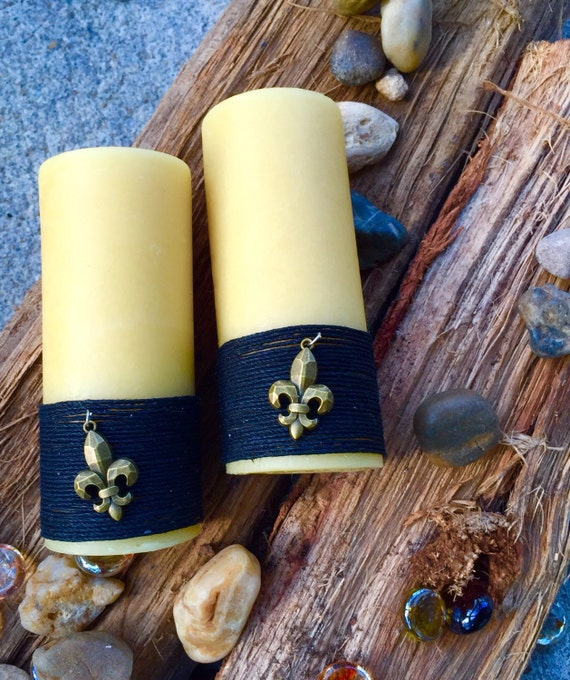 Beeswax Pillar Candle wrapped in natural hemp w/Fleur de lis charm