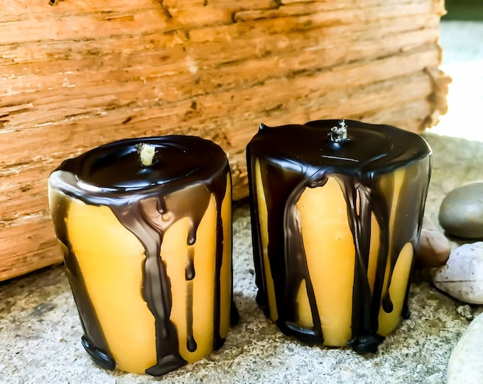 Set of 3 100% Pure Beeswax Votive candles dripped with black beewax-black dripped beeswax votive candles-organic beeswax votive candles
