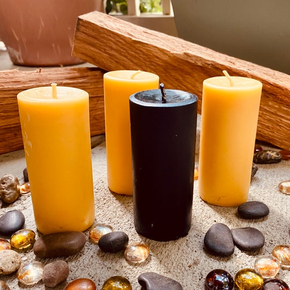 "100% Pure Beeswax Pillar Candle-2"" wide up to 15"" tall-pure beeswax pillar candles-yellow, black or white beeswax-handmade beeswax pillar"