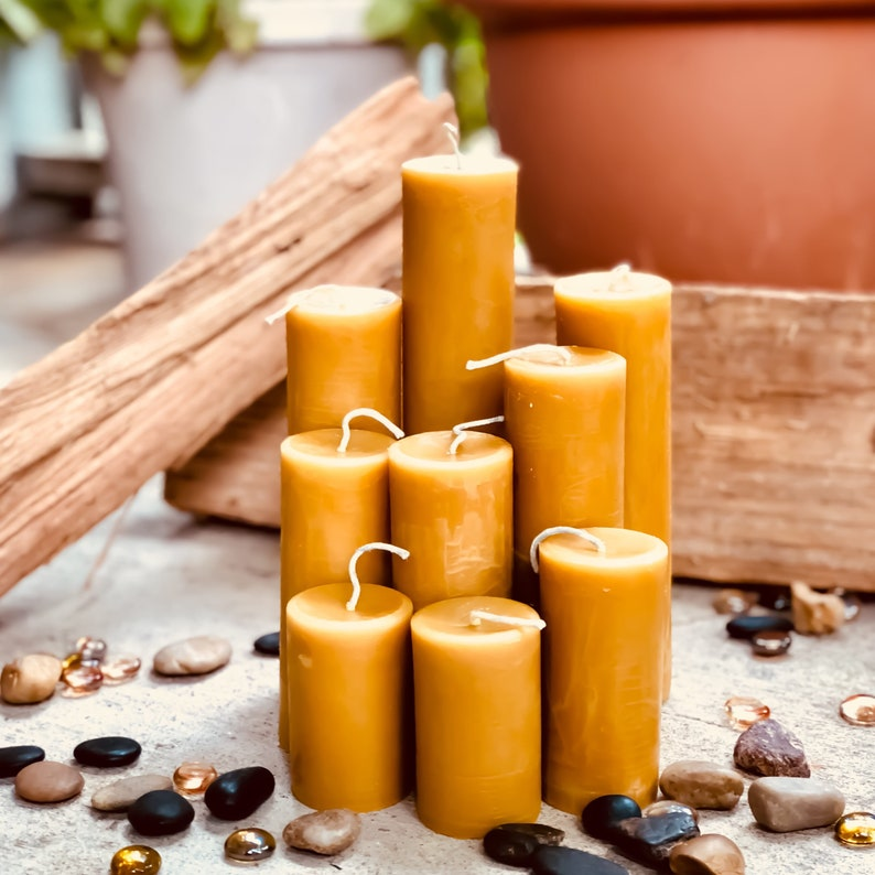 100% Pure Beeswax Pillar Candle-2 wide up to 15 tall-pure image 0