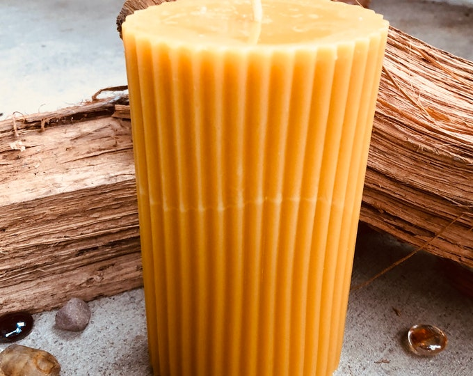 """100% Pure Beeswax Pillar Candle-2""""x3""""x6"""" Oval Beeswax Pillar Candle-unique fluted beeswax pillar-Pure Organic Beeswax Candle"""