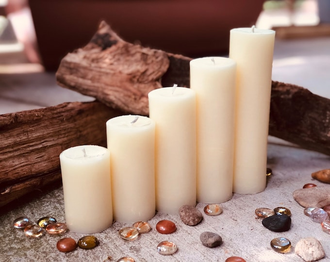 """Free Shipping-Set of 5 White Beeswax candles-100% Pure white Beeswax Pillar candle-2"""" diameter beeswax candle-handmade white beeswax candles"""