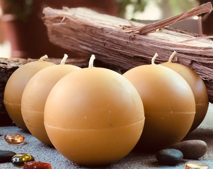 """100% Pure Beeswax extra large 3"""" Sphere Candles. Scented or Unscented."""