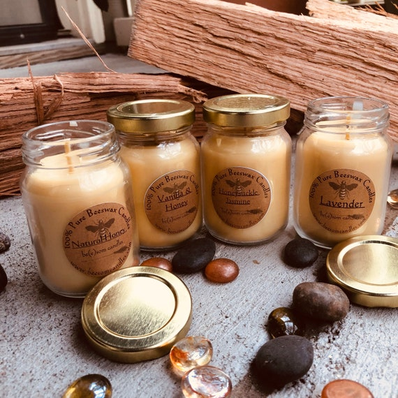 100% Pure Beeswax Candles-Scented or Unscented-Set of 4 jar Candle-3oz jar-picnic candles-organic beeswax candles