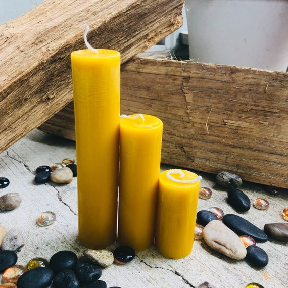 Organic Pure Beeswax pillar candles-set of 3 candlestick pillar candle-pure organic beeswax pillar candles-set of 3 organic beeswax