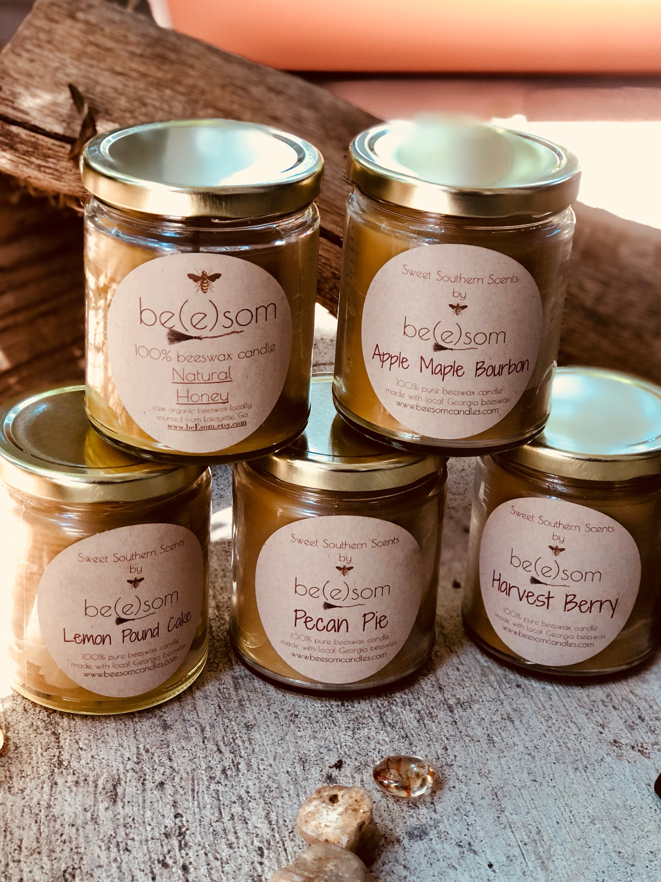 100% Pure Beeswax jar candle-set of 4 scented organic ...