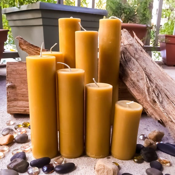"Set of 4, 100% Pure Beeswax Pillar Candles from 2"" to 9"" tall"