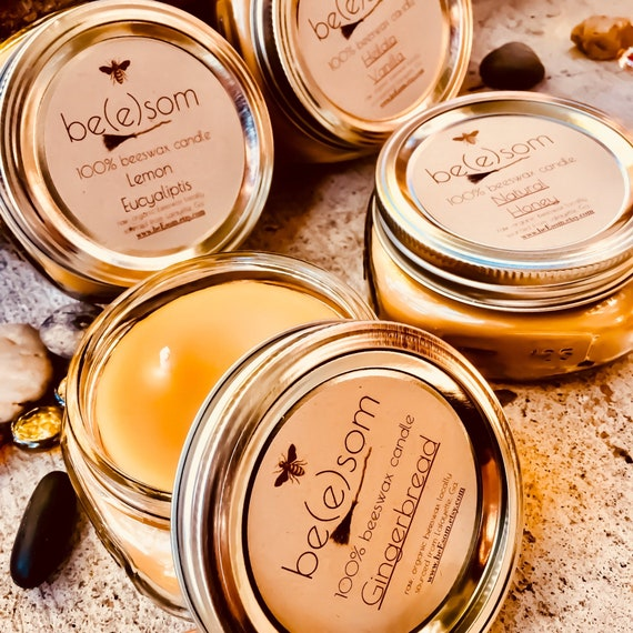 Free Shipping on a set of 4 beeswax mason jar candles. 8oz wide mouth mason jar beeswax candles, scented or just natural honey scent