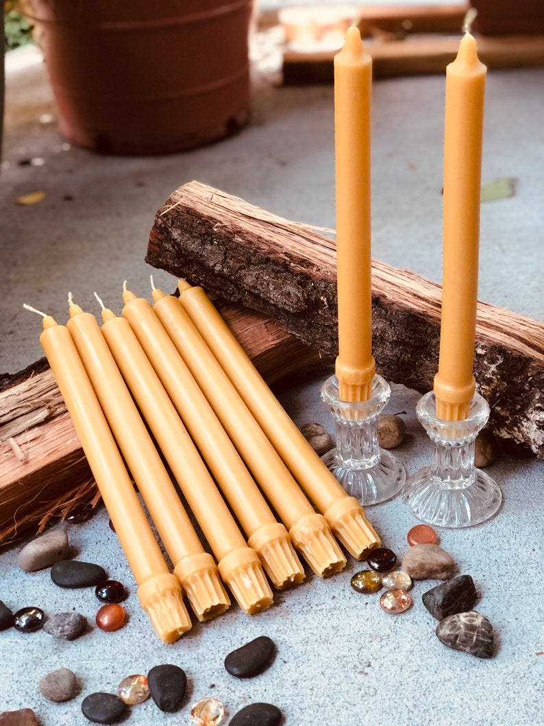 100% Pure Beeswax Taper Candles. Set of 2 pure organic beeswax image 0