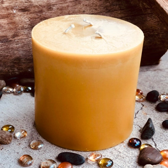 """100% Pure Beeswax Pillar Candle-extra large 3 wick Beeswax Pillar Candle-Pure Organic Beeswax Candle-extra large 6"""" diameter up to 8"""" tall"""