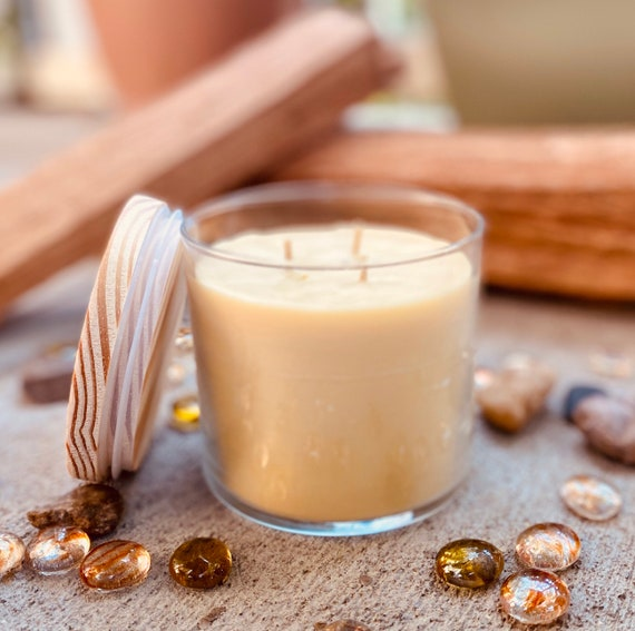 Pure organic beeswax candle in a 16oz glass jar topped with wooden lid-100% Pure Beeswax aromatherapy candles-beeswax candles-