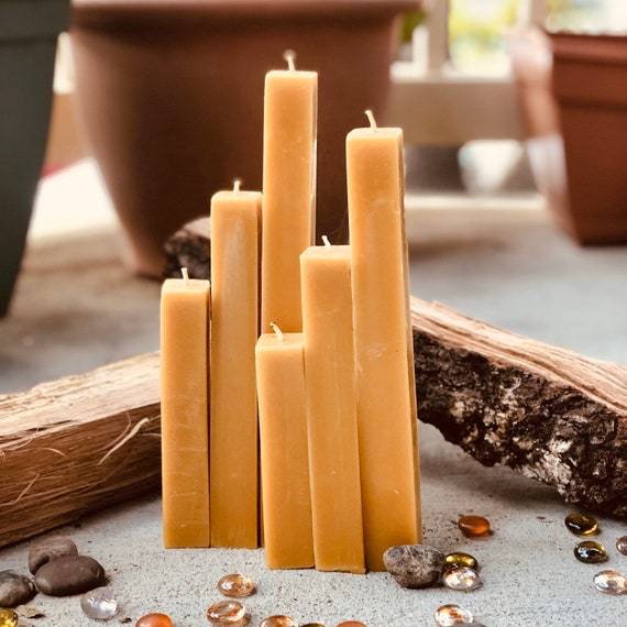 "This set of 3 unique square 100% pure beeswax pillar candles. Rustic and modern organic pure beeswax candle set. 1"" wide and up to 9"" tall."